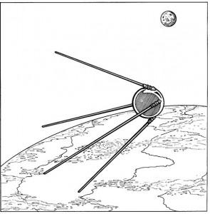 kleurplaat Sputnik 1, Rusland, 1957