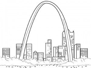 målarbok St. Louis Arch, Amerika