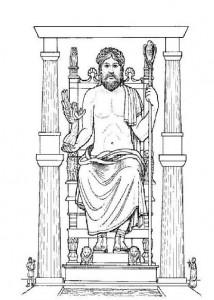 kleurplaat Standbeeld Zeus