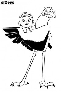 kleurplaat stork baby