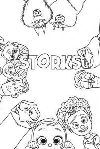 coloring page storks