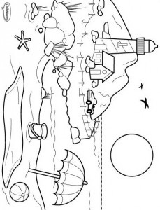 coloring page Beach, coast and lighthouse