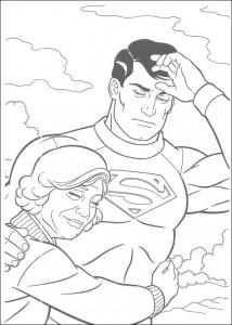 kleurplaat Superman en zijn moeder