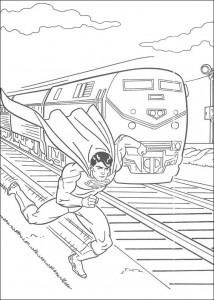kleurplaat Superman redt een trein