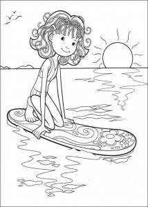 kleurplaat Surfplank