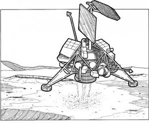 målarbok Surveyor 1, månlös lander, 1966