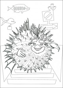 coloring page Sykes the hedgehog fish