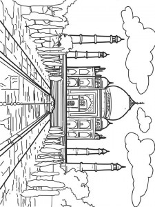 coloring page Taj Mahal, India