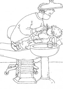 coloring page Dentist at work
