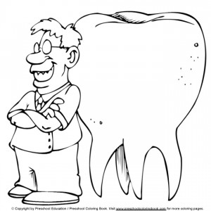coloring page Dentist with molar