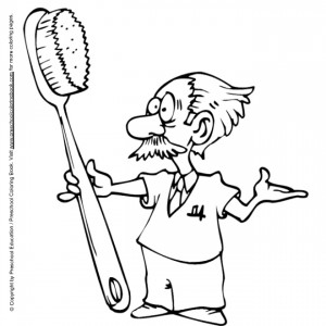 coloring page Dentist with toothbrush