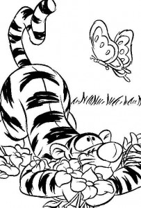 coloring page Tigger and butterflies