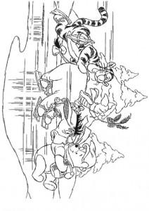 målarbok Tigger, Eeyore och Winnie skridskor