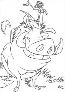 målarbok Timon och Pumba, riktiga vänner