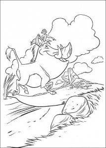 coloring page Timon and Pumba on the way to the King's Rock