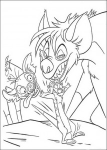 coloring page Timon is startled by the hyenas