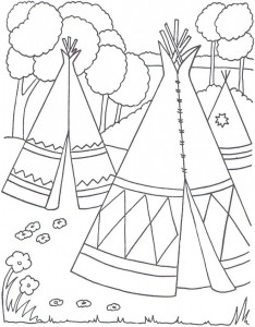 coloring page teepee or wigwam
