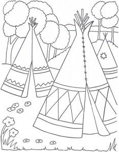 kleurplaat Tipi of wigwam