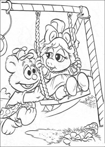 Tommy and Piggy coloring page