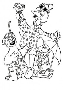 coloring page Tommy, Ieniemienie and Pino on vacation