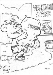 coloring page Tommy with potatoes