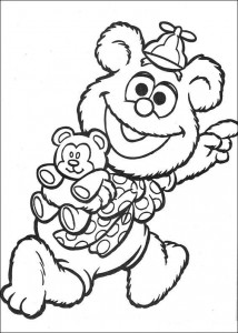 coloring page Tommy with his teddy bear