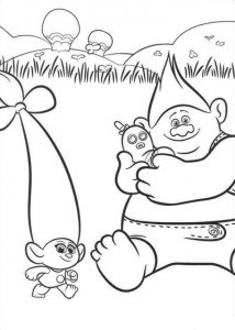 kleurplaat Trolls (8)
