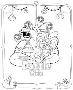 coloring page trolls dazzle