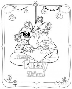coloring page trolls fuzzy