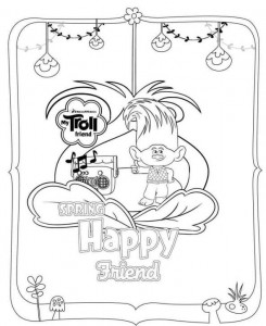 coloring page trolls spring