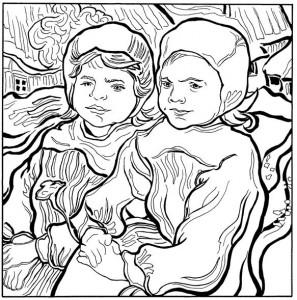kleurplaat Twee kleine meisjes 1890