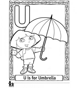 coloring page U Umbrella = Paraplue
