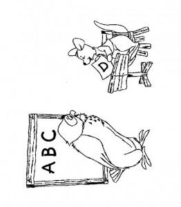 kleurplaat Uil geeft Roe les