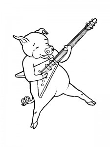 coloring page Pig plays the guitar