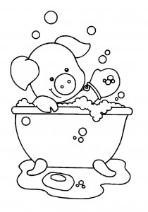 coloring page Pig in the bath