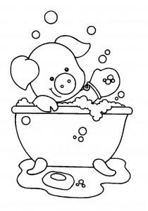 målarbok Gris i badet