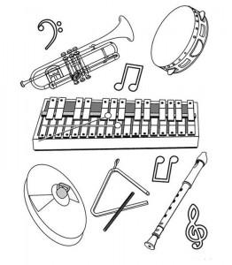 målarbok Olika instrument