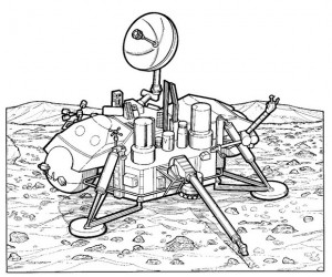 coloring page Viking 1, Mars researcher, 1975