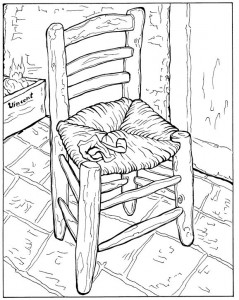 coloring page Vincents Chair with pipe 1888