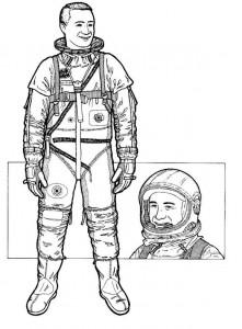 kleurplaat Virgil Grissom, tweede amerikaan, 1961