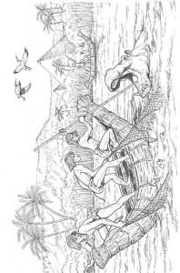 målarbok Fiskare attackerade av flodhäst