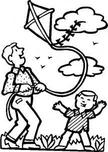 coloring page Kite flying