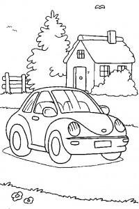 coloring page Volkswagen Beetle