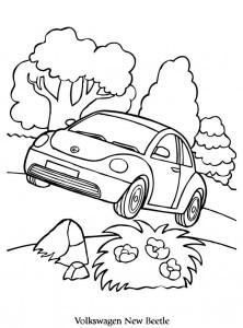 kleurplaat volkswagen new beetle