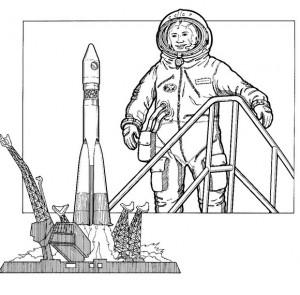 kleurplaat Vostok 6, Rusland, eerste vrouw, 1963