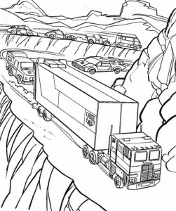 coloring page Truck through the mountains