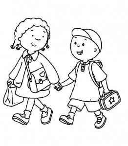 kleurplaat Vriendjes naar school