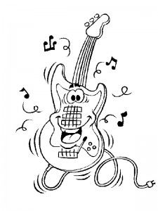 coloring page Happy guitar