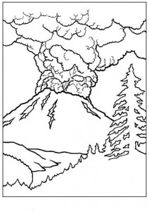 coloring page Volcano