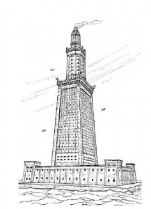 coloring page Alexandria lighthouse